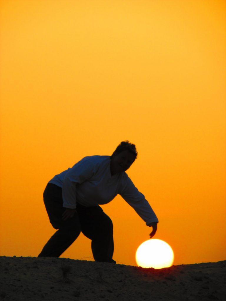 Coucher de soleil dans le désert à RAK