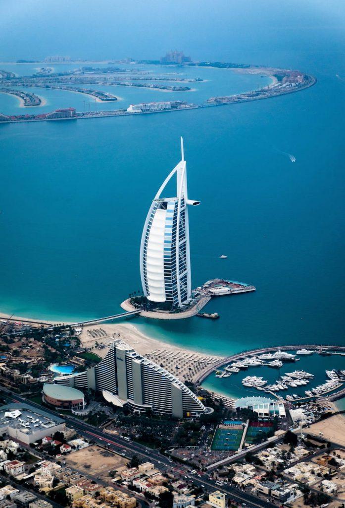 Burj-Al-Arab et The Palm vue à partir de Burj-Khalifa la plus haute tour au monde